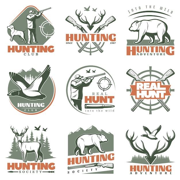 Набор логотипов real hunt Бесплатные векторы