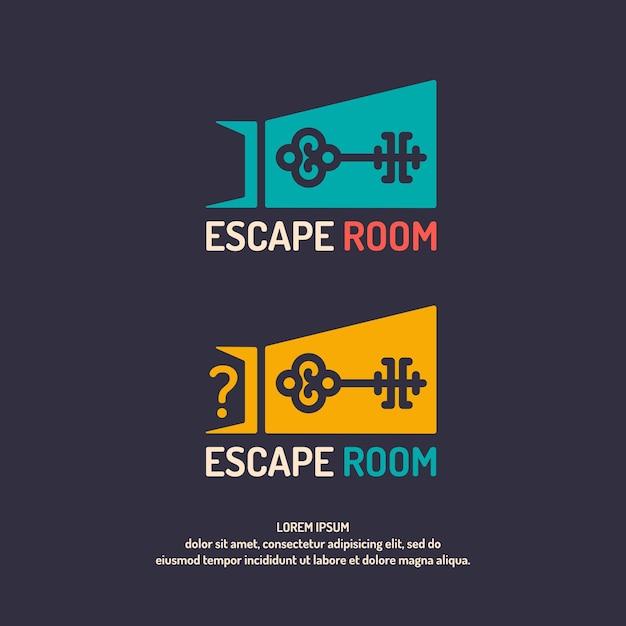 Побег из реальной жизни. логотип квест комнаты. Premium векторы