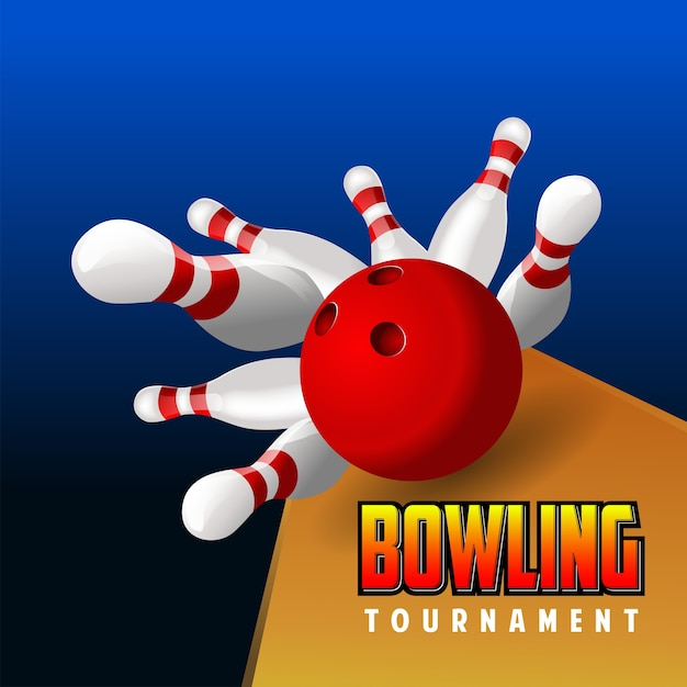 Real realistic bowling red ball Premium Vector