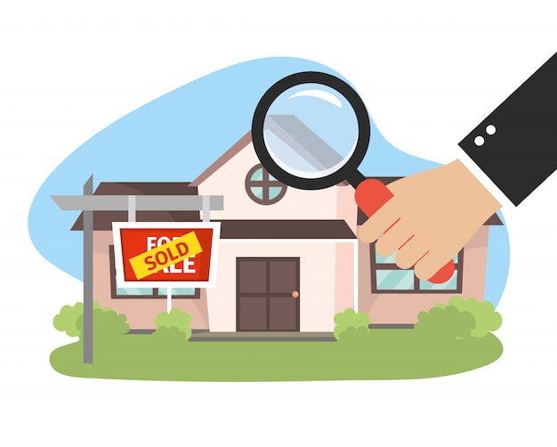 Real state house sold and businessman with magnifying glass Premium Vector