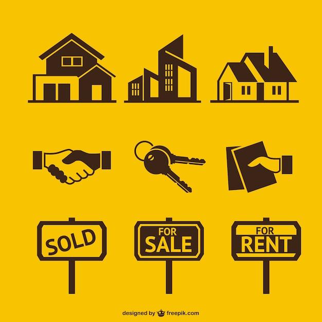 آیکون های املاک و مستغلات در زرد