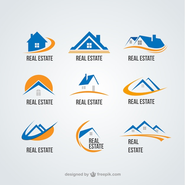 Real state logos collection Free Vector