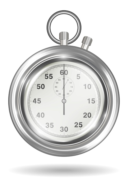 Real steel handy stopwatch on a white background Premium Vector