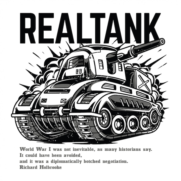 Real tank black and white Premium Vector