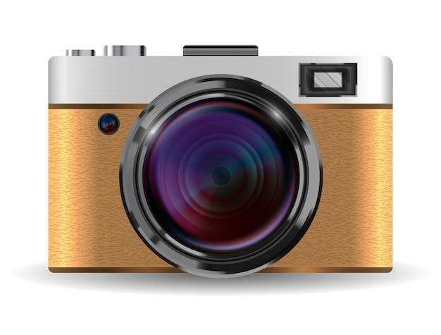 Camera Vintage Vector Free : Real vintage brown compact pocket camera vector vector premium