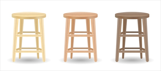 Real wood round chair set on white background Premium Vector