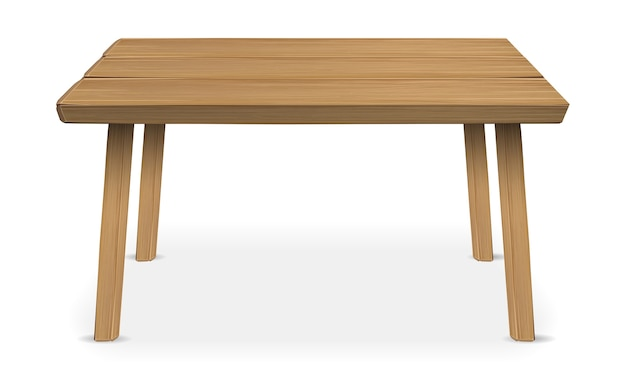 Real wood table on a white background Premium Vector