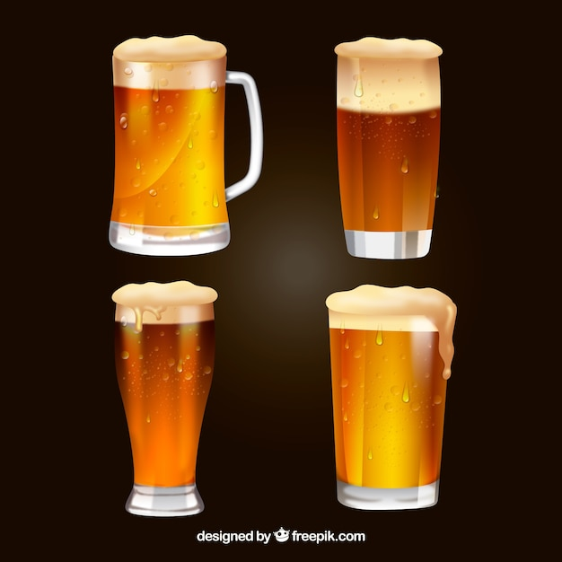Realisitc beer glass & mug collection Free Vector
