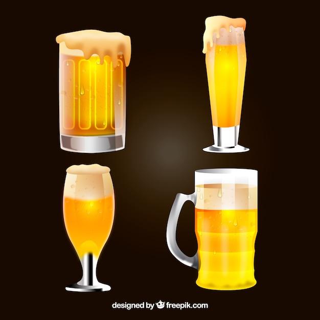 Коллекция пива из стекла realisitc и кружка Бесплатные векторы
