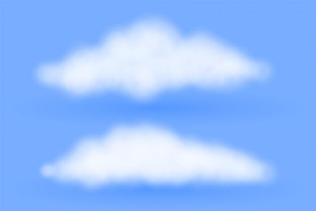 Реалистичные пушистые облака на синем фоне Бесплатные векторы