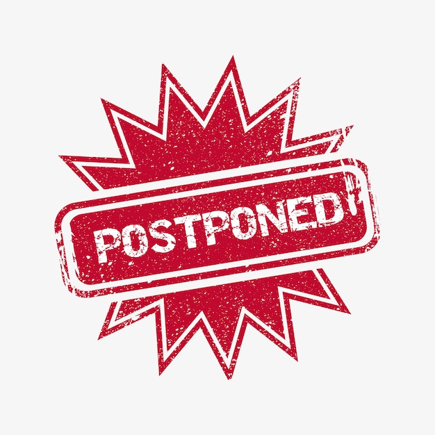 Realist postponed event stamp illustrated Free Vector