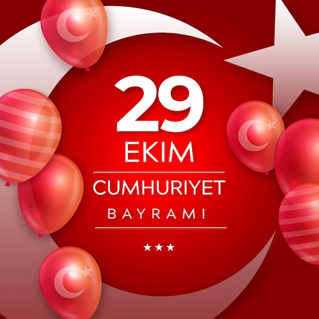 Realistic 29 ekim with balloons Free Vector