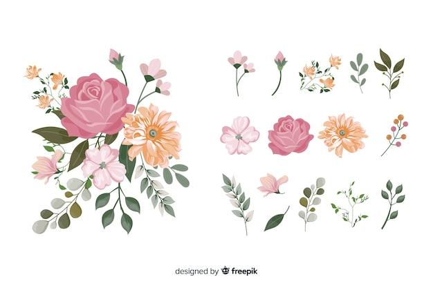 현실적인 2d 꽃 꽃다발 무료 벡터