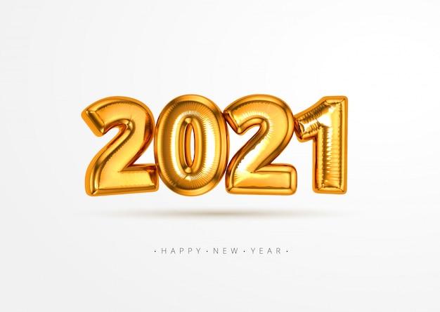 현실적인 3d 2021 금박 풍선 흰색 배경에 고립 된 공중에 비행. 크리스마스와 새해 컨셉 디자인 요소 또는 배너, 포스터, 인사말 카드를 장식 프리미엄 벡터