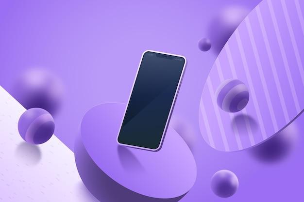 スマートフォンでリアルな3d広告 無料ベクター