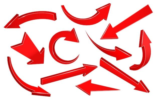 Реалистичные 3d стрелки. изогнутая стрелка, направленная вверх, указатель вниз и стрелка вперед Бесплатные векторы