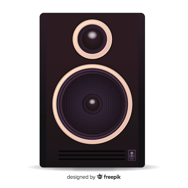 Realistic 3d black speaker background Free Vector