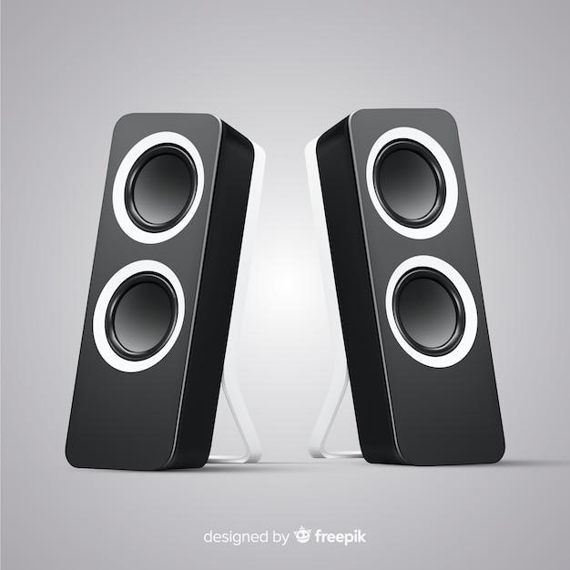 Realistic 3d black speaker background Free Vector