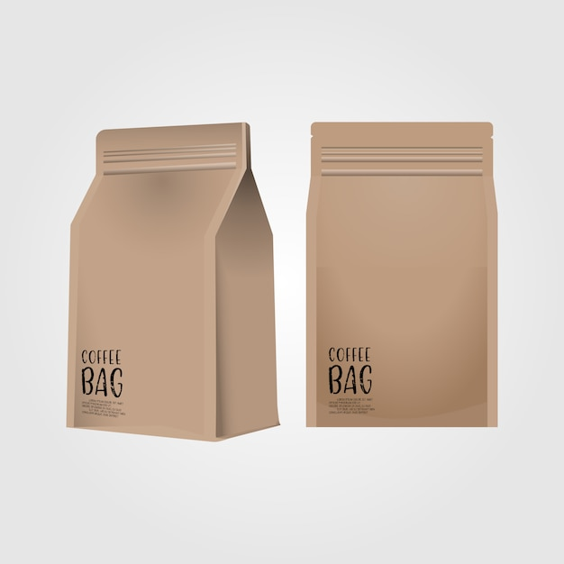 Realistic 3d blank paper coffee bag isolated on white background Premium Vector