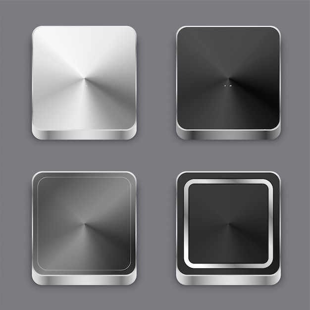 Realistic 3d brushed metal buttons or icons set Free Vector