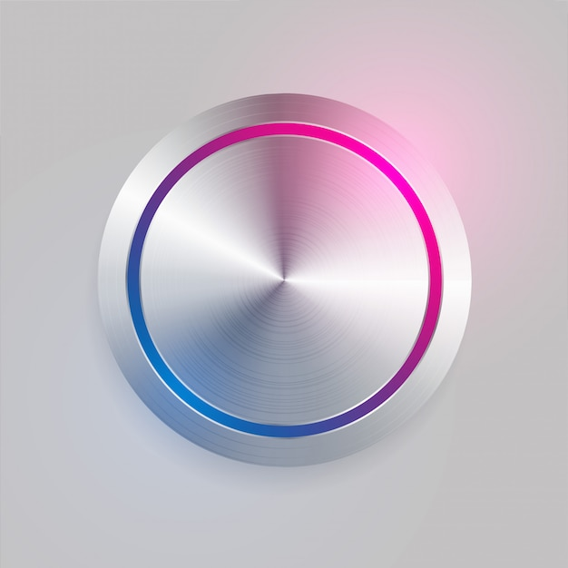 Realistic 3d brushed metal circular button Free Vector