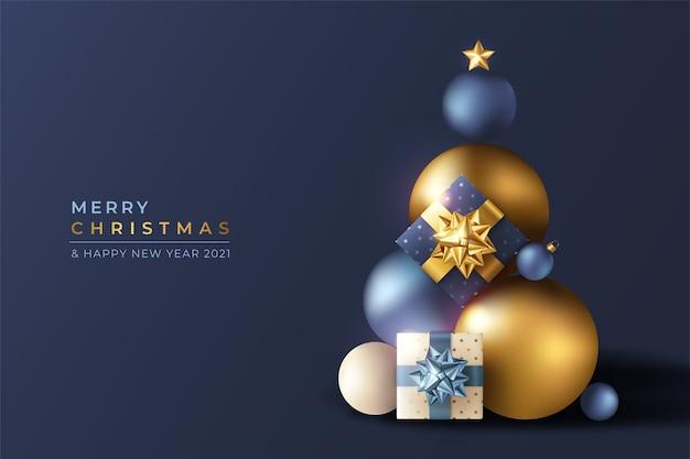 파란색과 황금 장신구와 현실적인 3d 크리스마스 배경 무료 벡터
