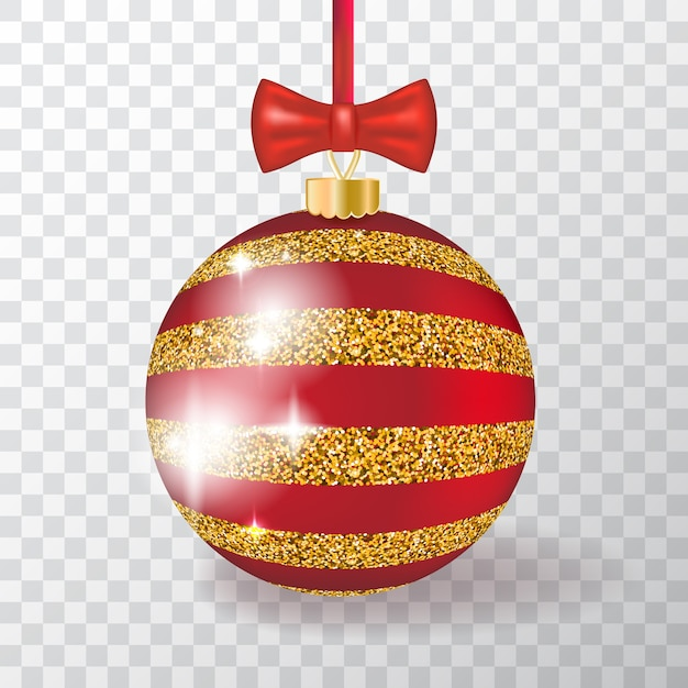 realistic 3d christmas ball transparent background with golden ornament red gold xmas bauble new year decorations 162695 2253