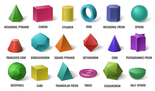 Realistic 3d color basic shapes. solid colored geometric forms, cylinder and colorful cube shape Premium Vector