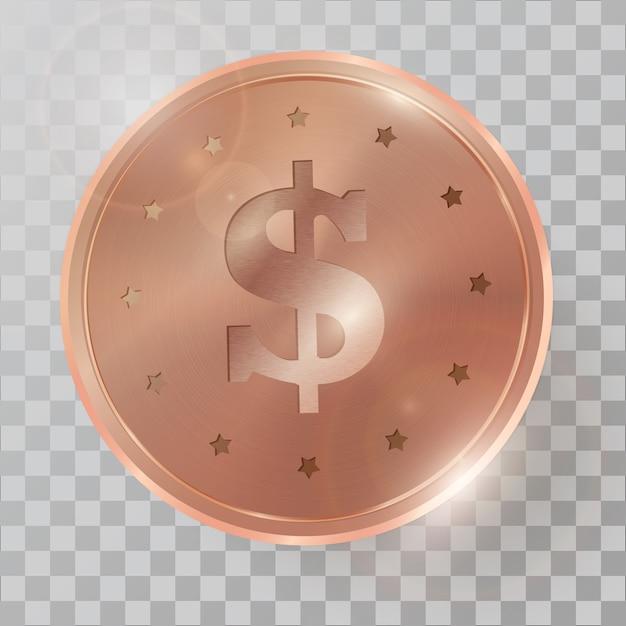 Realistic 3d copperr coin Premium Vector