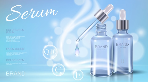 Realistic 3d cosmetic ad template  blue transparent Premium Vector