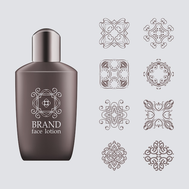 Realistic 3d dark gray bottle, silver cap for eco-cosmetic with set of line logo Premium Vector