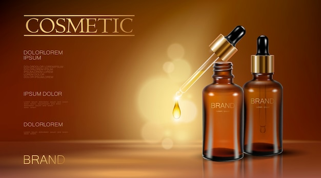 Realistic 3d essence bottle cosmetic ad  oil droplet falling pipette Premium Vector