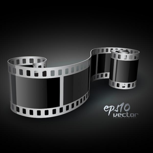 Realistic 3d film reel Free Vector