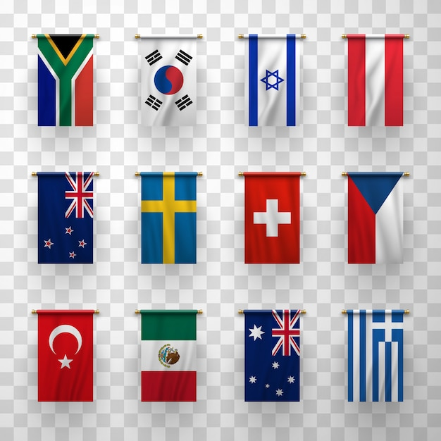 Realistic 3d flags icons countries symbolic set Premium Vector