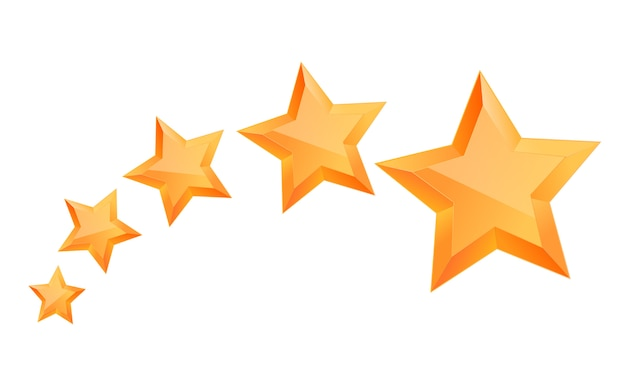 Realistic 3d gold star. award winner. five gold stars. good job. best reward. bulk copper star. simple 5 star. the award for the best choice. premium class. Premium Vector