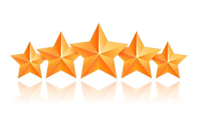 Realistic 3d gold star. award winner. five gold stars. good job. best reward. bulk copper star. simple 5 star. the award for the best choice. premium class. Premium Vector
