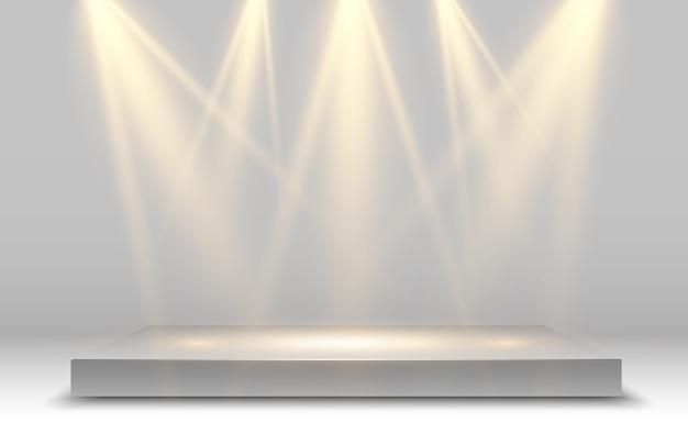 Realistic 3d light box with platform background for design performance, show, exhibition.  lightbox studio interior. podium with spotlights. Premium Vector