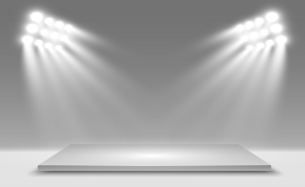 Realistic 3d light box with platform background for  performance, show, exhibition.  illustration of lightbox studio interior. podium with spotlights. Premium Vector