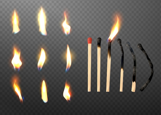 Realistic 3d match stick and different flame icon set. Premium Vector