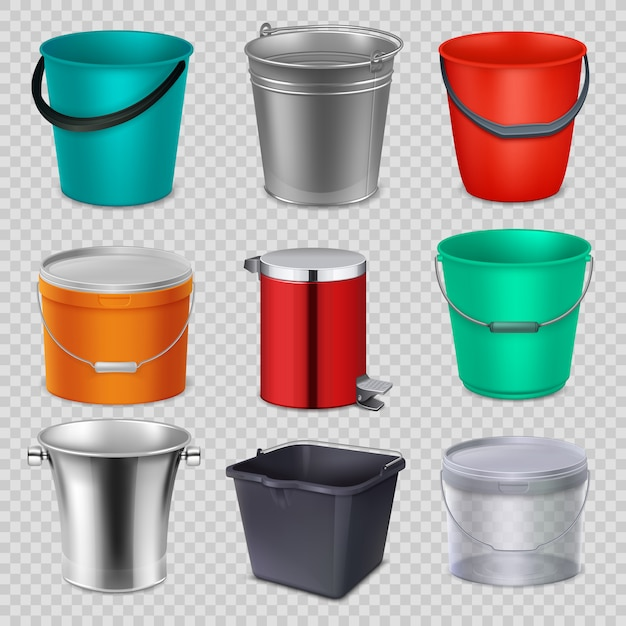 Realistic 3d metal and plastic buckets with handle. vector collection isolated Premium Vector