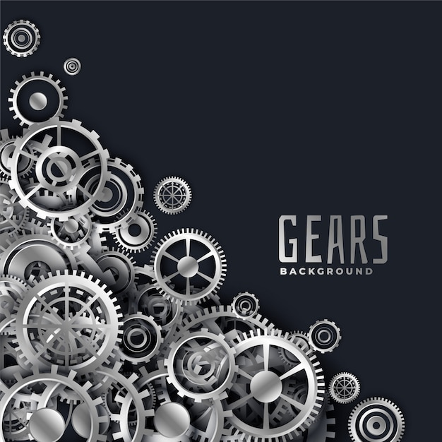 Realistic 3d metallic gears background Free Vector