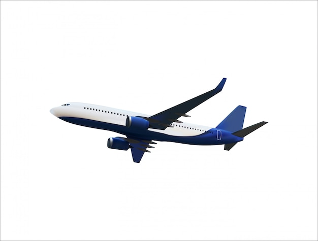 Realistic 3d model of an airplane flying in the air of white and blue coloring. Premium Vector