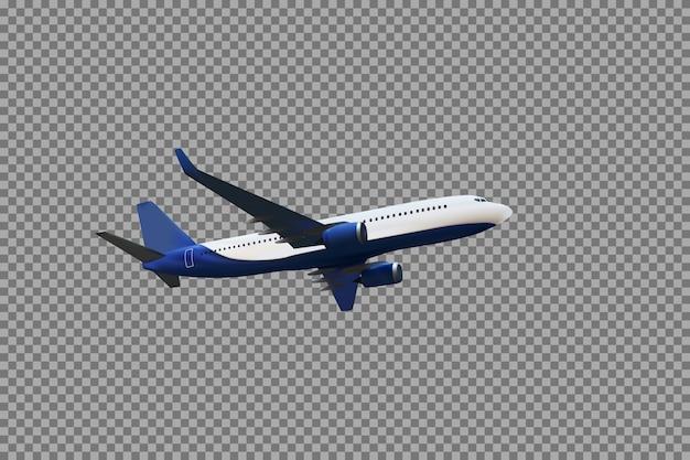 Реалистичная 3d модель летящего в воздухе самолета бело-синей расцветки на прозрачном фоне. векторные иллюстрации Premium векторы