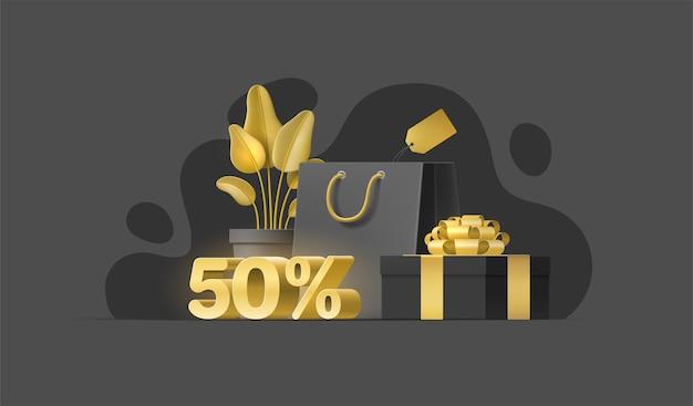 Реалистичные 3d-объекты для продажи баннеров, флаеров, социальных сетей. иллюстрация с растением, хозяйственная сумка. Premium векторы