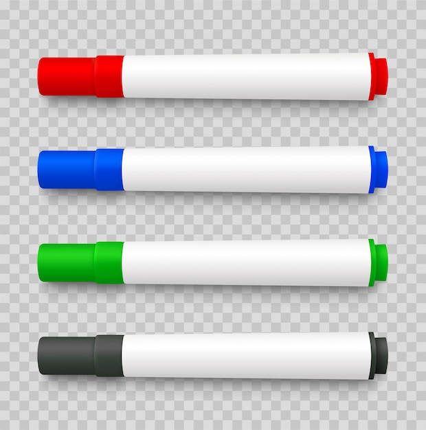 Realistic 3d set of marker pens, red, green, yellow, black on transparent Premium Vector
