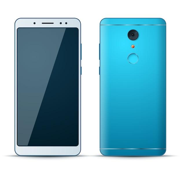 Реалистичная 3d смартфон значок на белом фоне. Premium векторы
