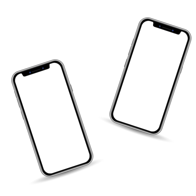 Premium Vector Realistic 3d Smartphone Template Isolated On White Background Copy Space On Touch Screen