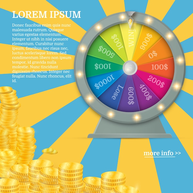Realistic 3d spinning fortune wheel Premium Vector