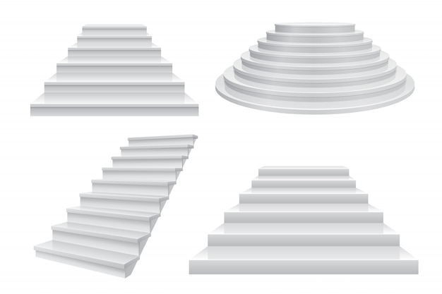 Realistic 3d staircase. career stairs, ladder to success  front view isolated on white. modern business template Premium Vector
