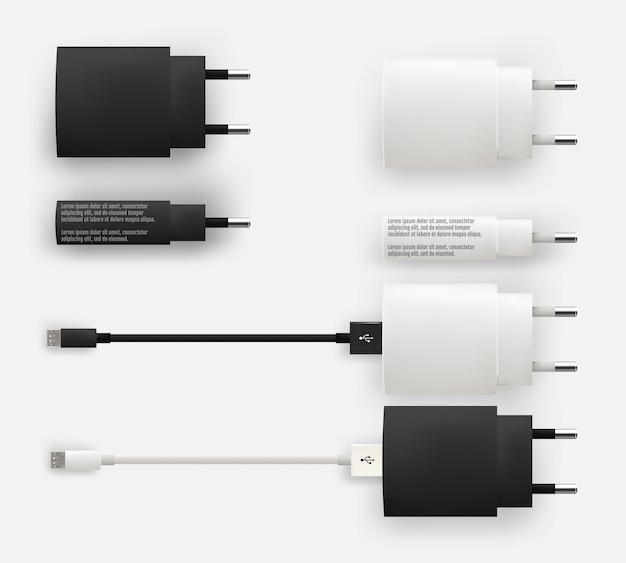 Realistic 3d usb micro cables, connectors, sockets and plug Premium Vector